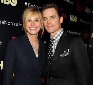"""Matt Bomer et Julia Roberts lors de la promotion du film """"The Normal Heart""""."""