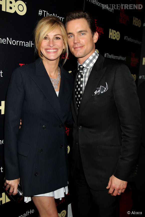 "Matt Bomer et Julia Roberts lors de la promotion du film ""The Normal Heart""."