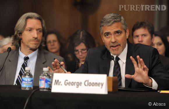 Ici George Clooney témoigne de ce qu'il a vu au Soudan devant le Capitol à Washington, le 14 mars 2012.