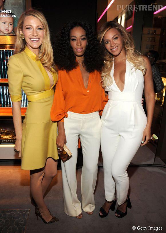 Blake Lively, Solange Knowles et Beyoncé à la soirée Chime for Change.