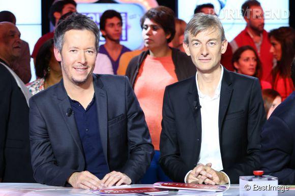 Jean-Luc Lemoine et à droite, Gilles Verdez, chroniqueurs à TMPM.