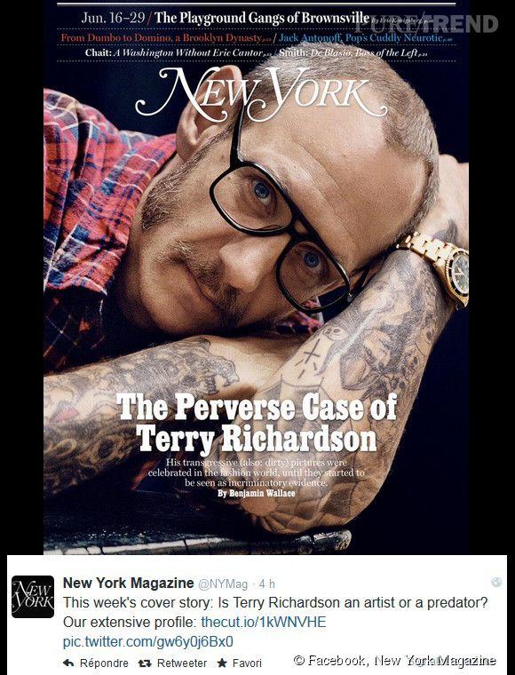 Terry Richardson, en Une du dernier numéro du magazine  New York Magazine.