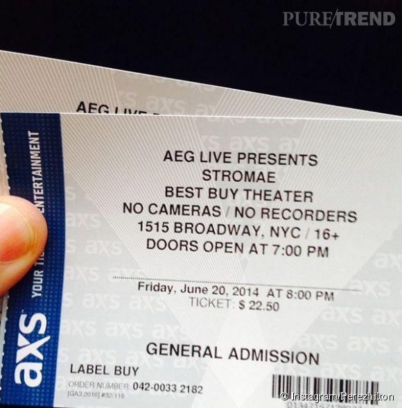 Perez Hilton, fier d'avoir eu des places pour le concert de Stromae ce vendredi 20 juin 2014 au Best Buy Theater de Times Square à New York.