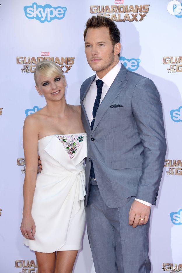 """Chris Pratt et sa femme, Anna Faris, un duo de choc en 2014 lors de la promotion du film """"Les Gardiens de la Galaxie""""."""