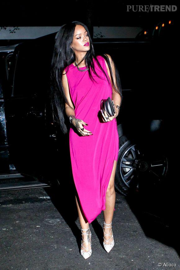 Rihanna quitte le restaurant Butter à New York le 18 août 2014.