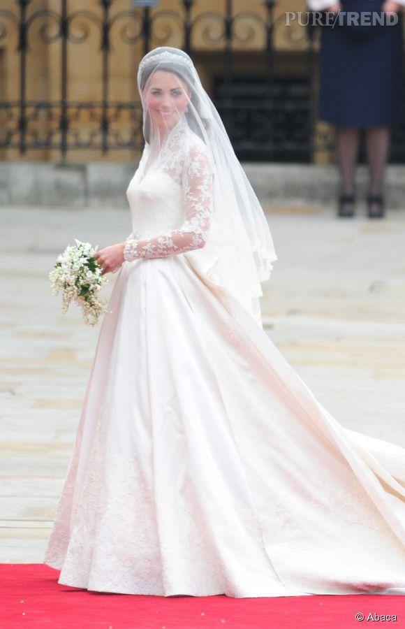 Kate Middleton lors de son mariage en avril 2011.