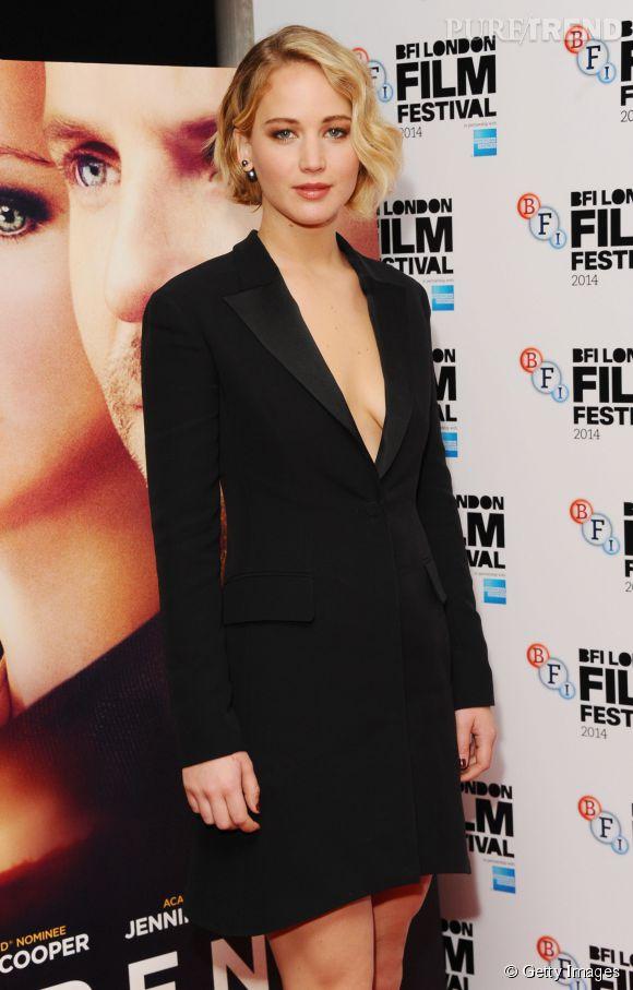 """Jennifer Lawrence à la première de """"Serena"""" pendant le BFI London Film Festival le 13 octobre 2014 à Londres."""