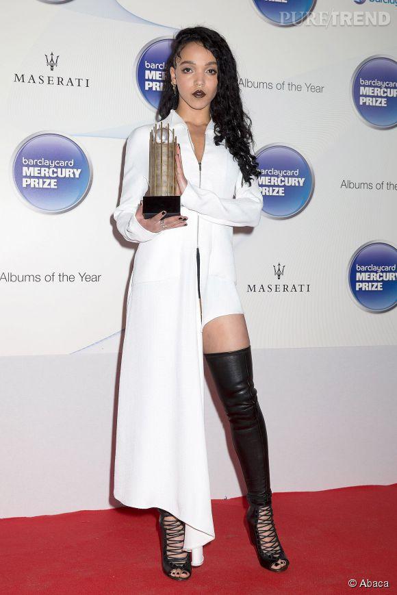 FKA twigs à la cérémonie du Mercury Prize à Londres le 29 octobre 2014. Elle a reçu un prix pour sa nomination, mais pas la récompense suprême.
