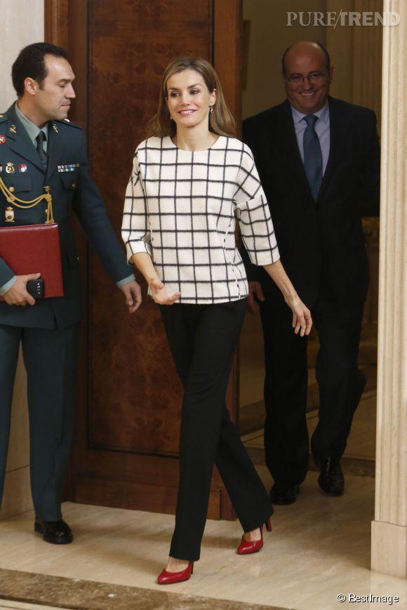 Letizia Ortiz lors d'une audience royale au Palais de Zarzuela le 3 novembre 2014 à Madrid.