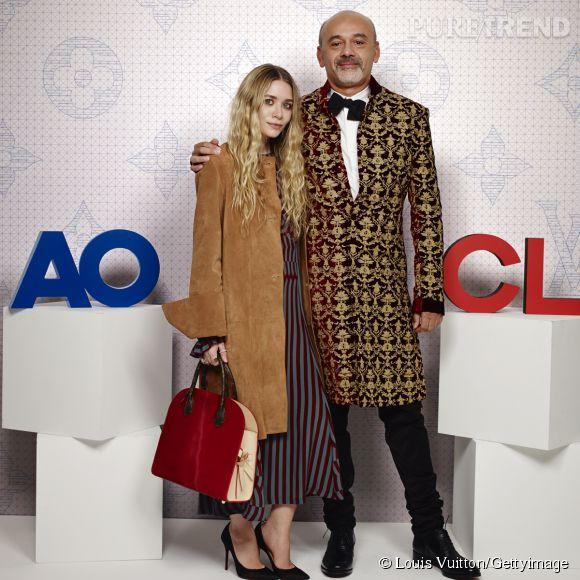 Ashley Olsen et Christian Louboutin lors de la soirée Louis Vuitton Monogram au MoMa à New York le 7 novembre 2014.