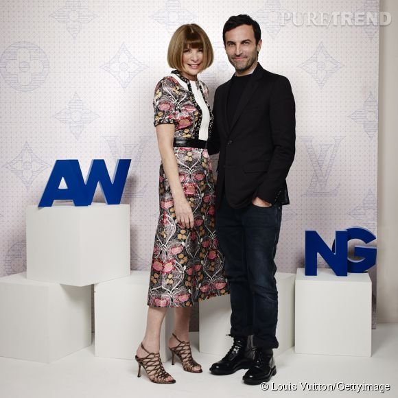 Anna Wintour et Nicolas Ghesquière lors de la soirée Louis Vuitton Monogram au MoMa à New York le 7 novembre 2014.