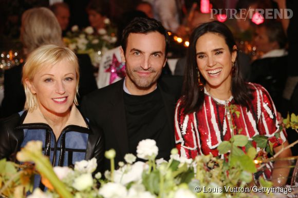 Cindy Sherman, Nicolas Ghesquière et Jennifer Connelly lors de la soirée Louis Vuitton Monogram au MoMa à New York le 7 novembre 2014.