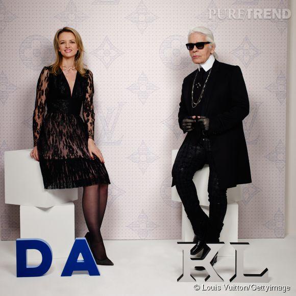 Delphine Arnault et Karl Lagerfeld lors de la soirée Louis Vuitton Monogram au MoMa à New York le 7 novembre 2014.