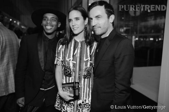 Lil Buck, Jennifer Connelly et Nicolas Ghesquière lors de la soirée Louis Vuitton Monogram au MoMa à New York le 7 novembre 2014.