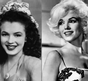 Marilyn Monroe avant et après la chirurgie esthétique.