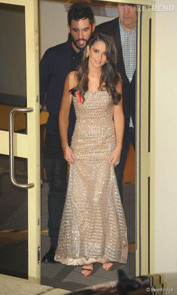 """Cheryl Cole à la sortie des studios d'enregistrement de l'émission anglaise """"X Factor"""" à Londres le 29 novembre 2014."""