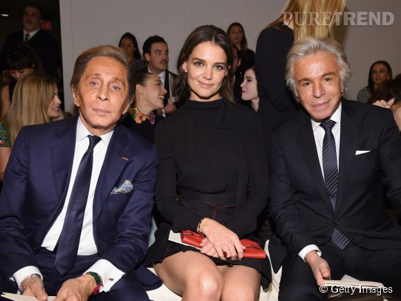 Valentino Garavani, Katie Holmes et Giancarlo Giammetti à la soirée Valentino Sala Bianca 945 le 10 décembre 2014 à New York.