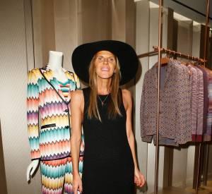 Anna Dello Russo lors du cocktail organisé pour l'ouverture de la nouvelle boutique Missoni à Paris le 27 janvier 2015.