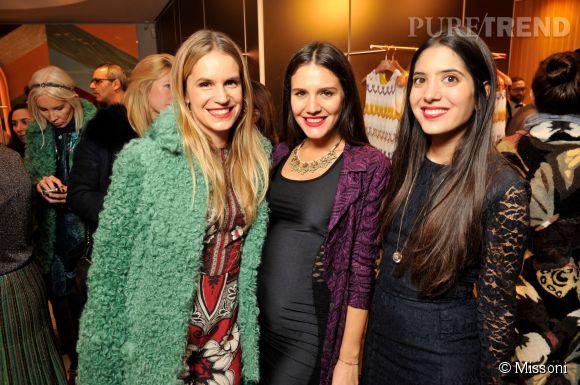 Eugenie Niarchos, Margherita Maccapani Missoni et Noor Fares lors du cocktail organisé pour l'ouverture de la nouvelle boutique Missoni à Paris le 27 janvier 2015.