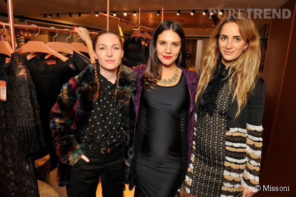 Josephine de la Baume, Margherita Maccapani Missoni et Alexia Niedzielski lors du cocktail organisé pour l'ouverture de la nouvelle boutique Missoni à Paris le 27 janvier 2015.