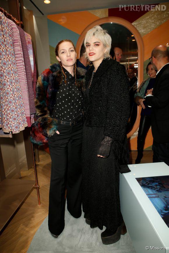 Josephine de la Baume et Soko lors du cocktail organisé pour l'ouverture de la nouvelle boutique Missoni à Paris le 27 janvier 2015.