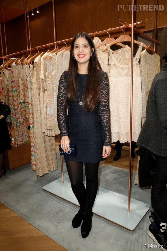 Noor Fares lors du cocktail organisé pour l'ouverture de la nouvelle boutique Missoni à Paris le 27 janvier 2015.