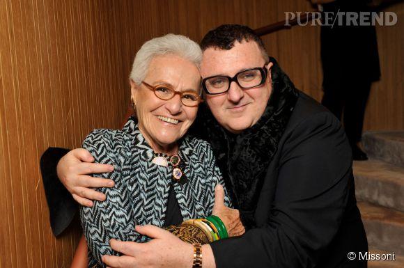 Rosita Missoni et Alber Elbaz lors du cocktail organisé pour l'ouverture de la nouvelle boutique Missoni à Paris le 27 janvier 2015.