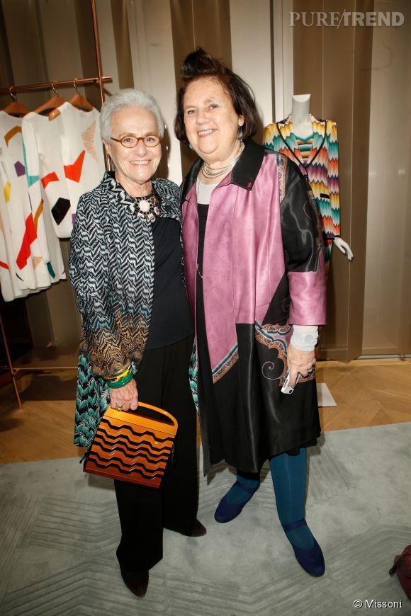 Rosita Missoni et Suzy Menkes lors du cocktail organisé pour l'ouverture de la nouvelle boutique Missoni à Paris le 27 janvier 2015.