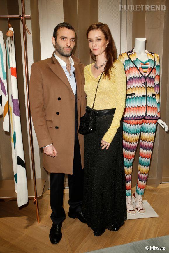 Virgile Bramly et Audrey Marnay lors du cocktail organisé pour l'ouverture de la nouvelle boutique Missoni à Paris le 27 janvier 2015.