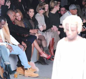 Beyoncé et Jay-Z, eux aussi au premier rang de la présentation de la Yeezy Boots signée Kanye West x Adidas Originals, ce jeudi 12 février 2015.