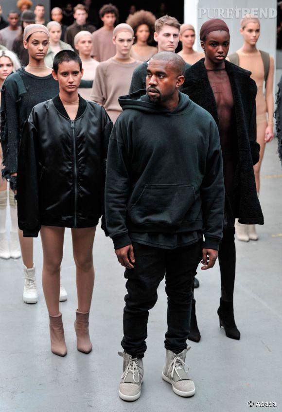 Kanye West lors de la présentation de la Yeezy Boots en collaboration avec Adidas Originals.