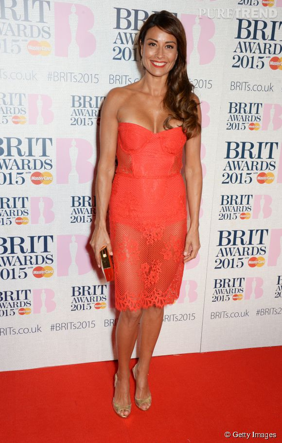 Melanie Sykes sur le red carpet des Brit Awards 2015 à Londres le 25 février 2015.