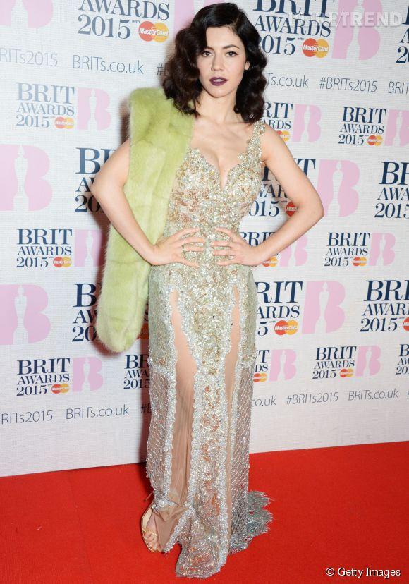 Marina Diamandis sur le red carpet des Brit Awards 2015 à Londres le 25 février 2015.