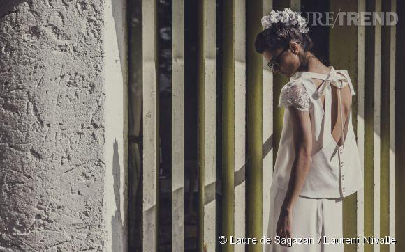 Une robe de mariée moderne et romantique ? Direction le showroom Laure de Sagazan. Prix sur demande.
