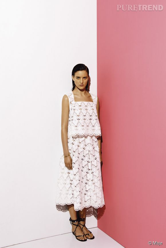 Une robe 100% bohème by Maje. Prix : 135€ le top, 225€ la jupe.