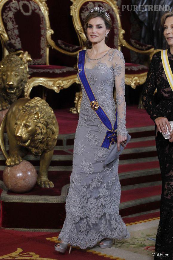 Letizia Ortiz lors d'un dîner de gala donné en l'honneur du président colombien Juan Manuel Santos le 2 mars 2015 à Madrid.