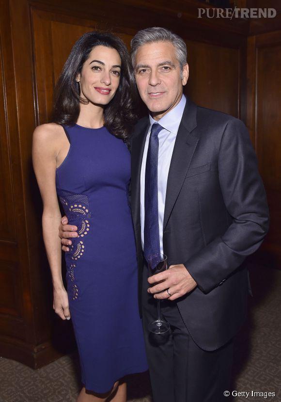 George et Amal Clooney au lancement de l'initiative 100 LIVES à New York le 10 mars 2015.
