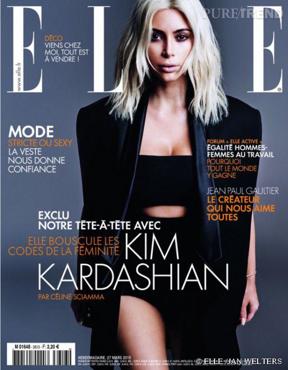 Kim Kardashian en couverture du magazine ELLE, numéro 3613, en kiosques le vendredi 27 mars.