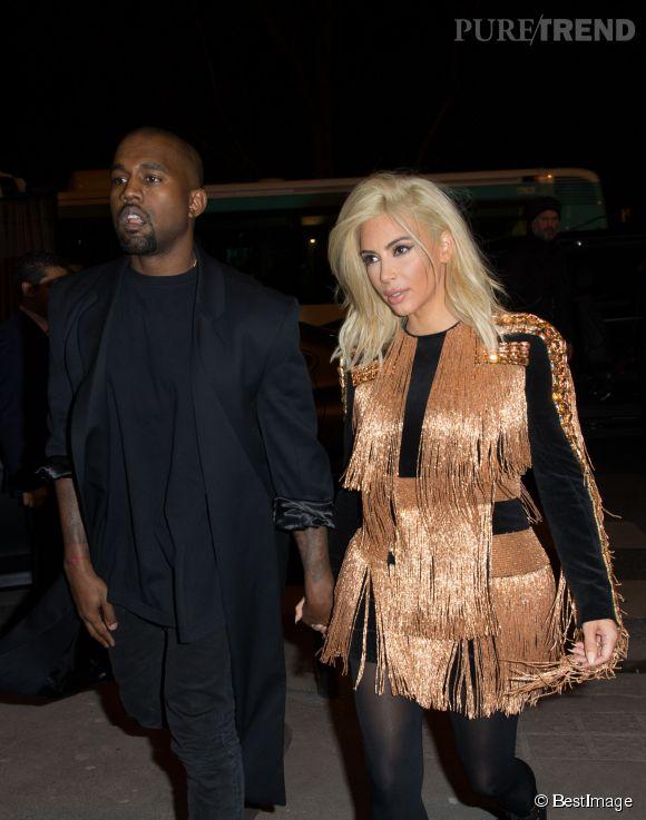 Kim Kardashian - blonde platine - et Kanye West à l'after-party Balmain lors de la dernière Fashion Week parisienne.