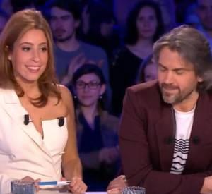 """Léa Salamé et Aymeric Caron habillés en Jean Paul Gaultier sur le plateau de """"On n'est pas couché"""" sur France 2, ce samedi 4 avril 2015."""