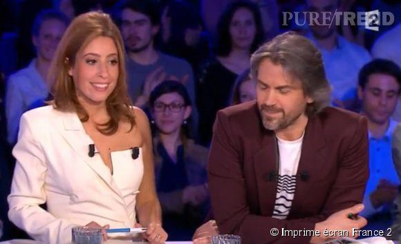 """Léa Salamé et Aymeric Caron habillés en Jean Paul Gaultier sur le plateau de """"On n'est pas couché"""" sur  France 2 , ce samedi 4 avril 2015."""