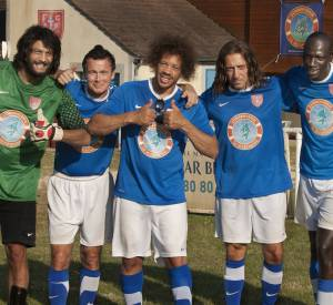 "Ramzy Bedia, Franck Dubosc, Gad Elmaleh, JoeyStarr et Omar Sy dans le film d'Olivier Dahan ""Les Seigneurs""."