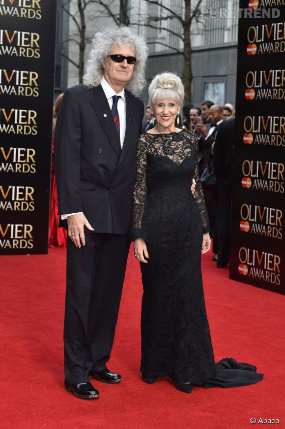 Brian May et son épouse lors des Oliviers Awards, le 12 avril 2015.