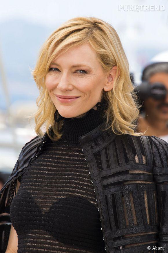 "Cate Blanchett a osé la transparence lors du photocall du film ""Carol"", dimanche 17 mai 2015."