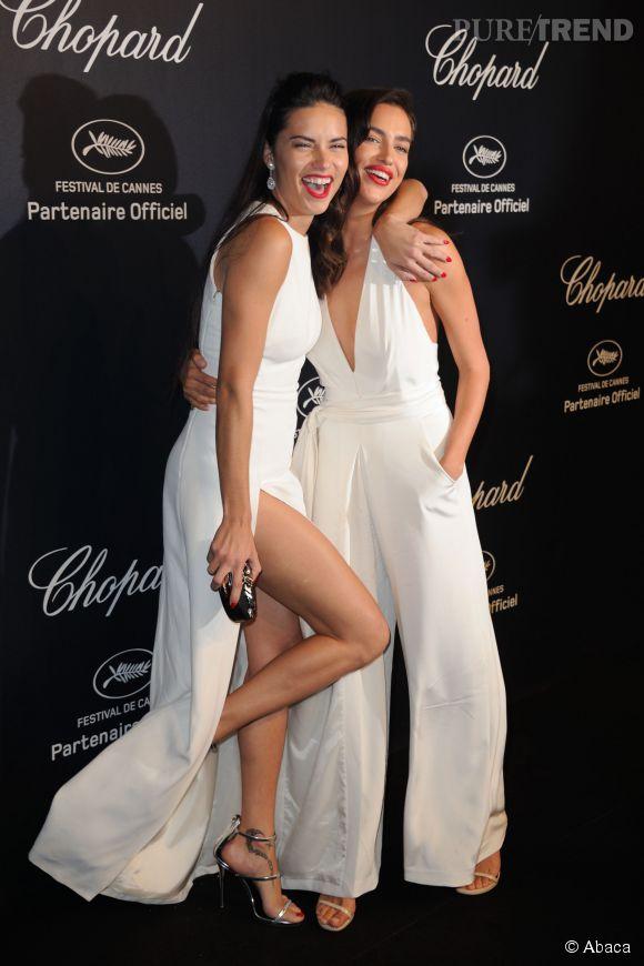 Adriana Lima et Irina Shayk lors de la soirée Gold de Chopard à Cannes le 18 mai 2015.