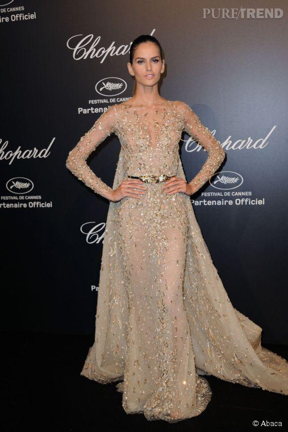 Izabel Goulart en Zuhair Murad lors de la soirée Gold de Chopard à Cannes le 18 mai 2015.