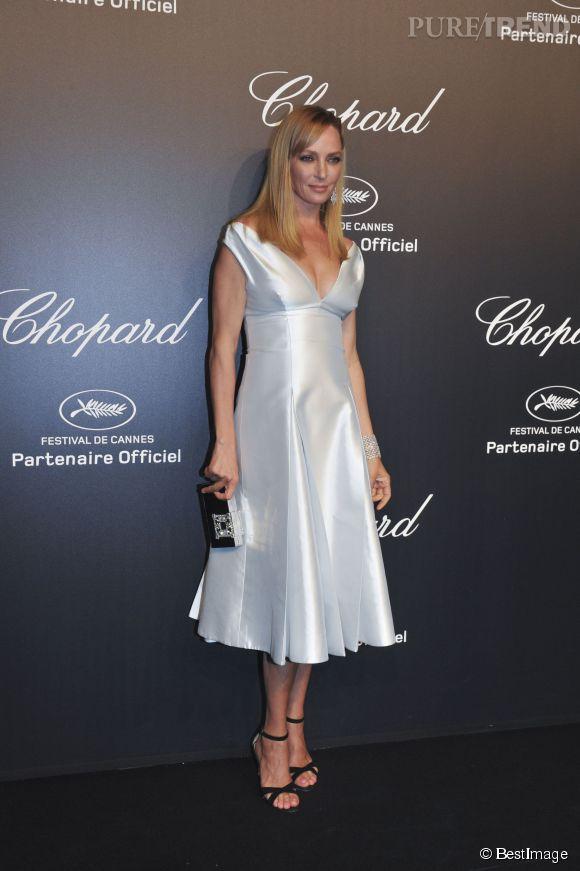 Uma Thurman lors de la soirée Gold de Chopard à Cannes le 18 mai 2015.