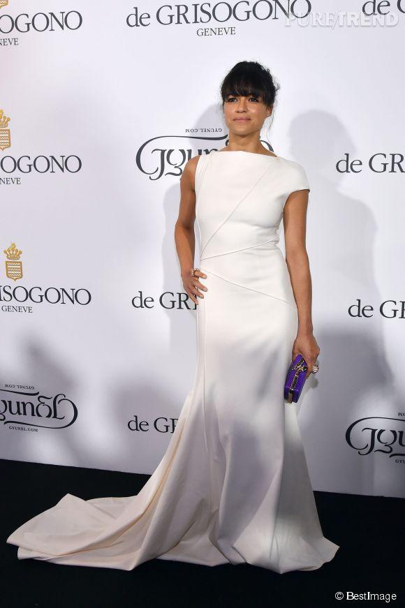 """Michelle Rodriguez en Vionnet lors de la soirée """"Divine in Cannes"""" de Grisogono le 19 mai 2015 à Cannes."""