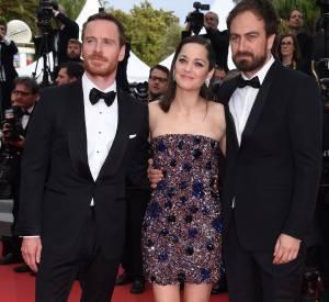 """Marion Cotillard et Michael Fassbender avec Justin Kurzel le réalisateur de """"Macbeth"""""""