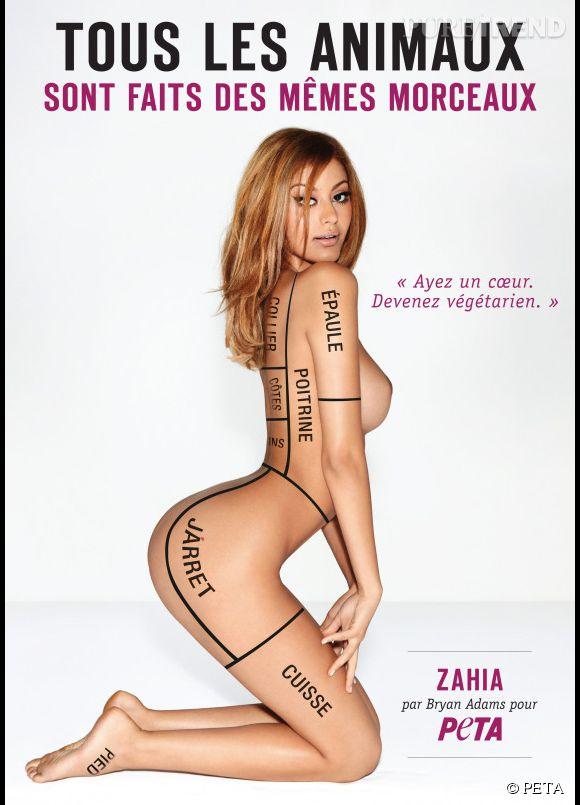 Zahia pose nue pour la nouvelle campagne végétarienne de la PETA.